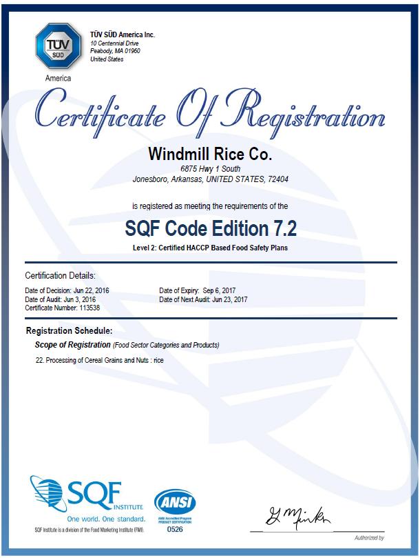 certificate sqf